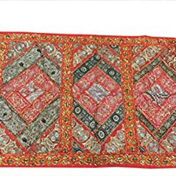 Indianwall Hanging Tapestry Embroidery Sequins Old Sari Patchwork(60x40inch)