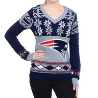 "New England Patriots Women's Official NFL ""Big Logo"" V-Neck Sweater by Klew"