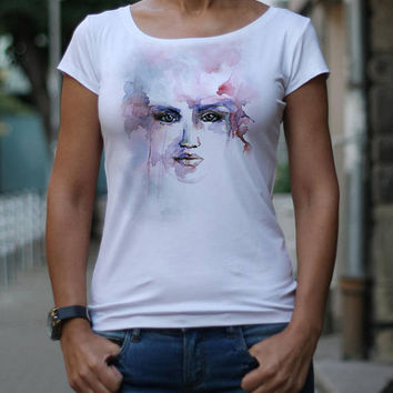 T-shirts for women Woman's face drawing Watercolor drawing Graphic tee Design t-shirt White top White blouse Tops TS10/218