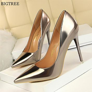 Patent Leather Thin Heels Office Shoes New Arrival Women Pumps Fashion High Heels Shoes Women's Pointed Toe Sexy Shoes Shallow