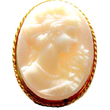 Small Victorian Style Carved Shell Cameo Brooch Cream