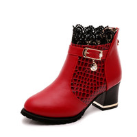 Womens Boots Autumn Winter 2016 Fashion Lace Hollow Out Ladies Shoes Woman Leather Sexy Ankle Boots For Women Botas Mujer X012