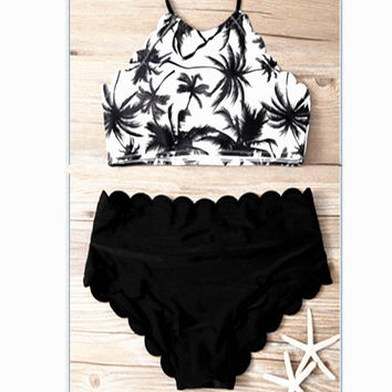 White coconut tree print and bottom black high neck hanging neck two piece scalloped bikini