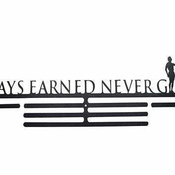 OFG Medal Hanger for Displaying and Hanging Ribbons on a Rack Out of Black Powder Coat Steel (Always Earned Never Given, Black)