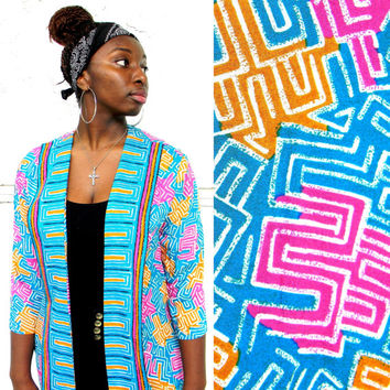 Fresh Prince Express - Vintage 80s 90s Open Faced Blazer Jacket w Trippy Tribal Print in Hot Pink, Turquoise, and Gold Size Medium M Large L