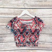 Kaleidoscope Multi Color Crop Tee