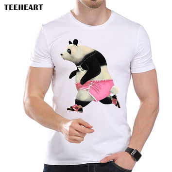 Men's Funny Pink Panda Print T-Shirt Cool Summer Modal  Animal