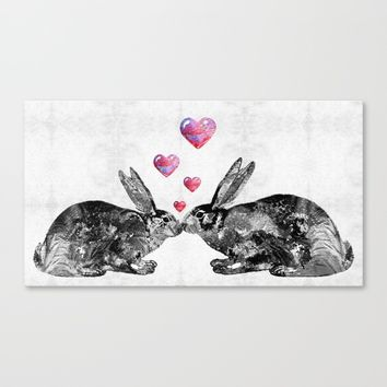 Bunny Rabbit Art - Hopped Up On Love 2 - By Sharon Cummings Canvas Print by Sharon Cummings