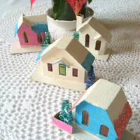 FREE SHIPPING Set of 4 Antique Mica Putz Bohemian Cardboard Village Houses Japan Christmas Gift Inspiration Ca. 1930's - 1940's