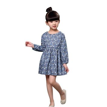dress For Girl Long Sleeves Fashion Princess Girls Dresses Polka Dot Printed Kids Clothes Casual Baby Party Dress