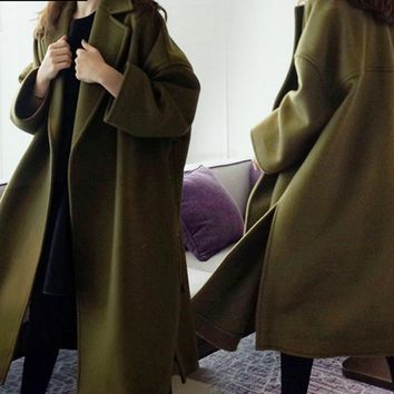 2017 New Winter Long Woolen Coat Cocoon Female Turn-down Collar Loose women Vintage Jacket High Quality Thicken Overcoat WJN342