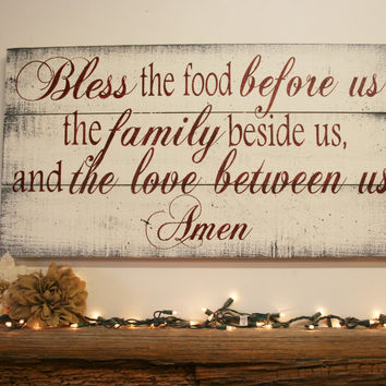 Bless The Food Pallet Sign Kitchen Dining Room Rustic