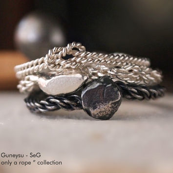"""NEW! STACKING RING - Three Stack Rings - Rock, Rope, Knot - Silver & Oxidized Silver - Handmade - """" With Only a Rope Collection """""""