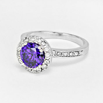 Blue Round Cubic Zirconia Ring