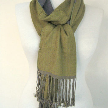 Double-layered Scarf / Two Sided Scarf / Gray green / gray scarf / green scarf / long scarf