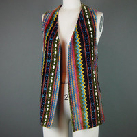 70s Carpet Vest Vintage 1970s Ethic Colorful Hippie Chenille Long Waistcoat