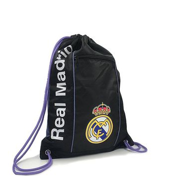 Real Madrid Cinch Bag Sack Soccer Book  Backpack Authentic Official Black Purple