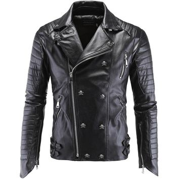 Skull Skulls Halloween Fall High Quality Men's  Punk Style Leather Jackets New Male Hip-Hop Oblique Zipper Leather Suede Ootwear Coats Leather jaqueta Calavera