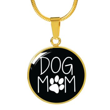 Dog Mom Gold Luxury Circle Charm Necklace