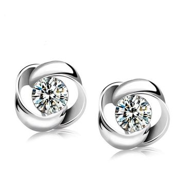 Women 925 Sterling Silver Jewelry Elegant Crystal Ear Stud Earrings Spin Flower