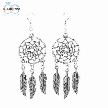 SUSENSTONE 1 Pair Fashion Women Lady Dreamcatcher Ear Stud Gold Earrings