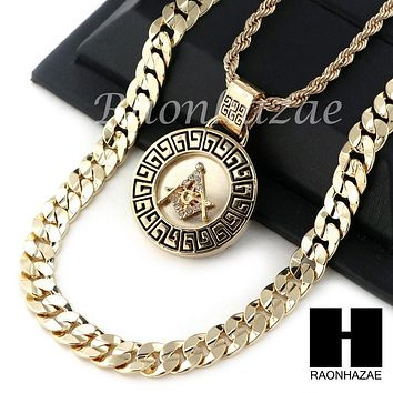 "MEN ICED OUT FREEMASON ROPE CHAIN DIAMOND CUT 30"" CUBAN LINK CHAIN NECKLACE S015"