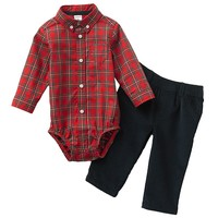 Carter's Plaid Button-Down Bodysuit & Corduroy Pants Set - Baby