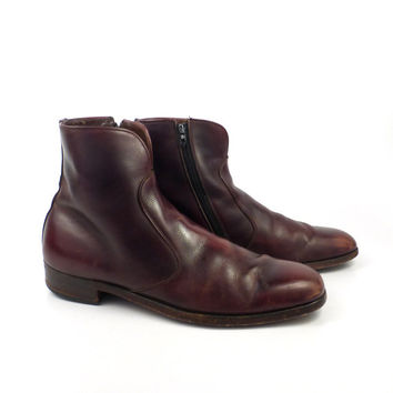 Leather Ankle Boots 1970s Texas Burgundy Brown Euro Beatle Zip men's size 11