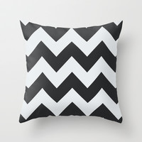 Black and white chevron Throw Pillow by kongkongpaper