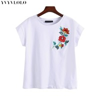 Fashion Casual Cotton short sleeve women t shirt 2017 Flower Embroidered T-shirt women tops tshirt summer tee shirt femme