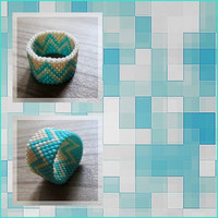 Fusion - Custom made Peyote stitch band ring - Summer Style - Modern and minimalist - Teal and cream