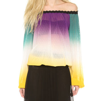 Block Off-Shoulder Chiffon Sleeve Top