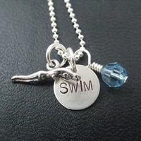 SWIM GIRL, SWIM with Crystal - 16 inch Sterling Silver Ball Chain Necklace - Choose your Crystal Color - Swim Necklace - Swim Team