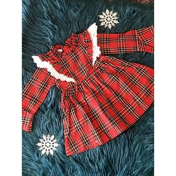 2018 Christmas Plaid Infant Ruffle Down The Front Long Sleeve Dress