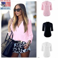 US Women Solid Polo V Neck Career Tops 3/4 Sleeve Blouse Casual T Shirt Work Tee