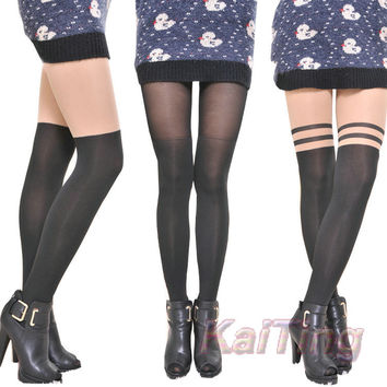 2016 New Fashion Black Mixed Colors Gipsy Mock Ribbed Over The Knee High Pantyhose Hose Tight Women Clothing