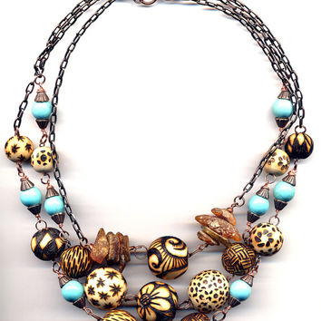 Magnesite and Wood Necklace, Wood burned Handmade Beads Necklace, OOAK Wooden Necklace,Turquoise Statement Summer Fashion Necklace