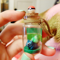 Pokemon inspired Bottle Charm: Bulbasaur