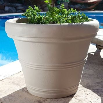Round 26-inch Outdoor Patio Planter for Garden Plants or Small Tree in Weathered Concrete