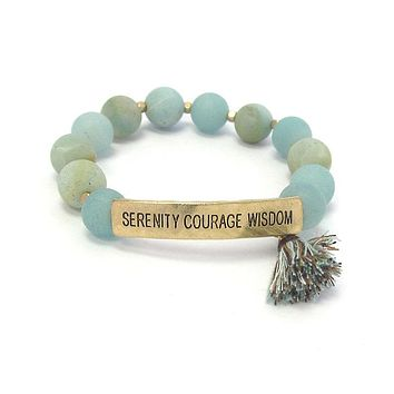 Serenity Courage Wisdom Inspiration Message Semi Precious Stone and Tassel