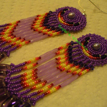 Purple and Lavender rosette beaded Cabachon earrings