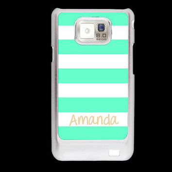 Personalized Samsung Galaxy S2 case - Nautical mint stripes Beach stripes - monogram Samsung Galaxy S2 cover plastic