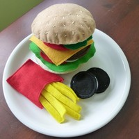 Burger and Fries - Felt Play Food