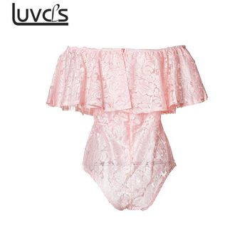 LUVCLS Women Sexy Bodysuit White Pink Black Off Shoulder Lace Bodysuit Stretch Party Leotard Ruffled Short Jumpsuit Women Romper