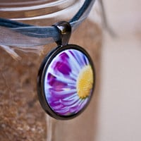 Bright purple floral necklace wearable art with free cord and domestic shipping.