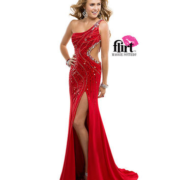 Flirt by Maggie Sottero 2014 Prom Dresses - Ruby Red Jersey & Beaded One Shoulder Cut Out Prom Gown
