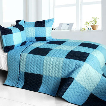 Shipshape Vermicelli Quilted Patchwork Plaid Quilt Set Full/Queen