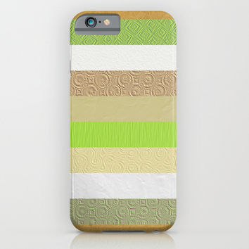 Vintage embossed paper stripes collage iPhone & iPod Case by Natalia Bykova