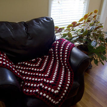 Red White Black Crochet Throw Adult Blanket, Granny Square, Wife Husband Girlfriend Boyfriend Mom Dad Sister Brother Daughter Gift, Her Him