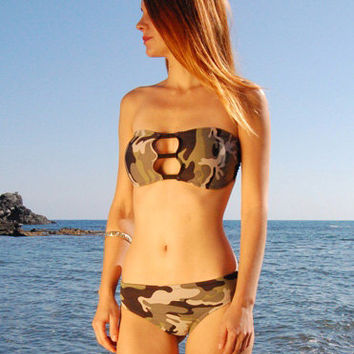 Cheeky Bikini Bottom Scrunch TOFINO in Camo, by MAKANI DREAM Swimwear